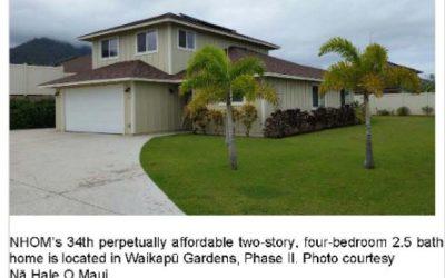 Nā Hale O Maui Selects Occupant for Latest Affordable Home