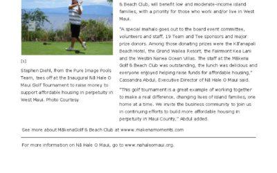 Inaugural Nā Hale O Maui Golf Tournament Raises $30K