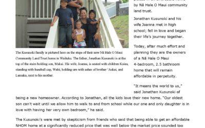 Nā Hale O Maui Places 35th Family in a Truly Affordable Home